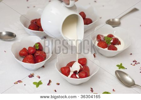 Strawberries And Cream On White Linen