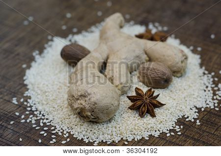 Spices On A Bed Of Hulled Sesame Seed