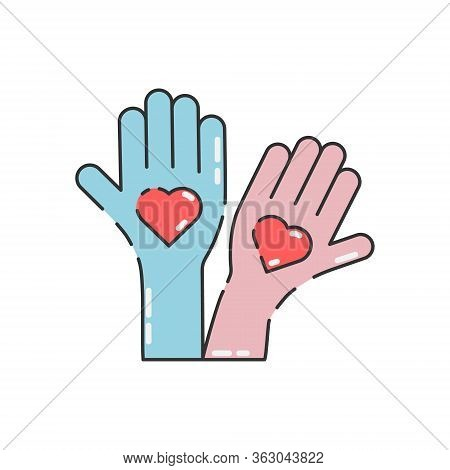 Volunteer Activity Vector Illustration Isolated On White Background. Hands With Hearts. Voluntary, C
