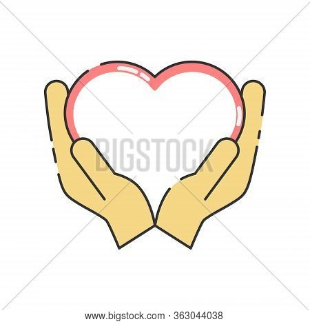 Hands With Heart. Volunteer Organization Vector Illustration Isolated On White Background. Voluntary