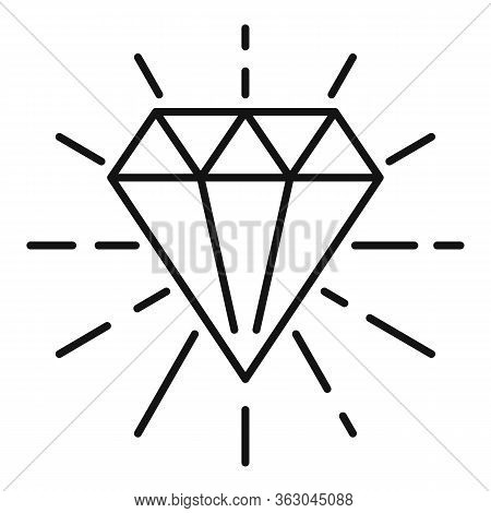 Millionaire Diamond Icon. Outline Millionaire Diamond Vector Icon For Web Design Isolated On White B