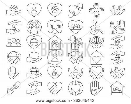 Voluntary, Charity, Donation Set Icons. Orphans And Animal Help, Voluntary Activity, Heart In Hands