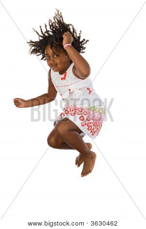 Adorable African Girl Jumping