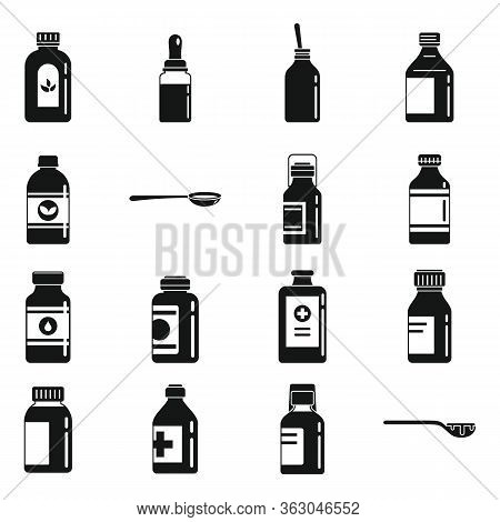 Cough Syrup Dosage Icons Set. Simple Set Of Cough Syrup Dosage Vector Icons For Web Design On White