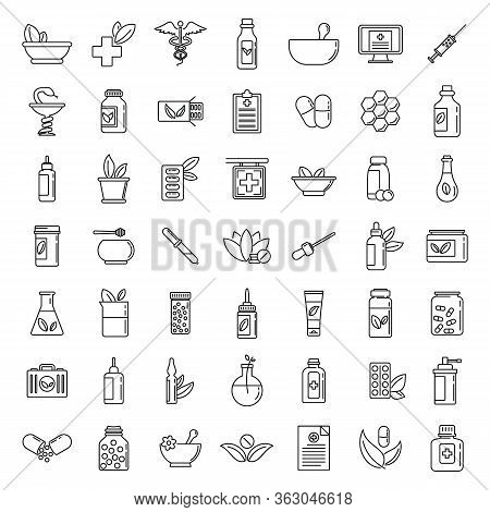 Homeopathy Health Icons Set. Outline Set Of Homeopathy Health Vector Icons For Web Design Isolated O