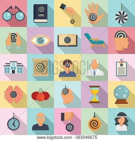 Hypnosis Icons Set. Flat Set Of Hypnosis Vector Icons For Web Design