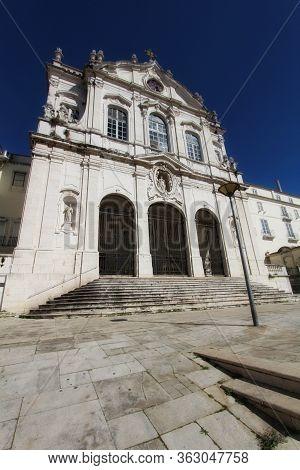 Beautiful Nossa Senhora Das Merces Church Facade In Lisbon