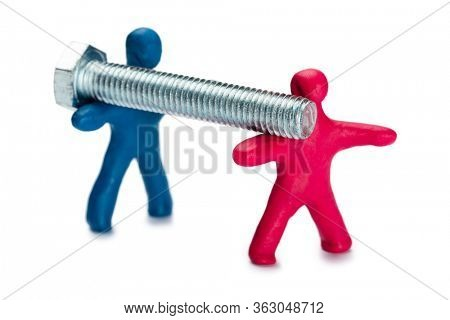 Plasticine people advertise of fixing material isolated on white
