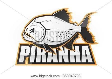 Piranha Black And White Emblem. Vector Illustration