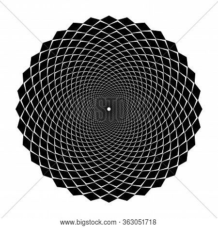 Design Spiral Illusion Backdrop. Abstract Monochrome Background. Vector-art Illustration. No Gradien