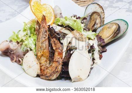 Octopus Shrimp Squid Seafood Salad Closeup Shot In Restaurant.