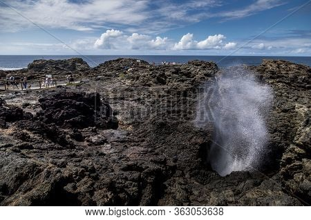 13th February 2020 In Victoria, Australia. A German Photographer Visiting The Kiama Blow Hole Landma