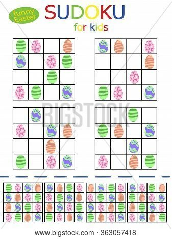 Happy Easter Simple Childish Sudoku Puzzles With Funny Colored Eggs. Set Of 4 Bright Four By Four Ch