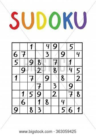 Sudoku Logic Number Game Stock Vector Illustration. Medium Level Number Classical Sudoku Game Vertic