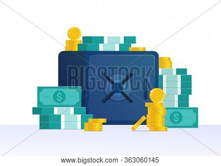 Bank Deposit And Capital Saving Banner. Cash Accumulation And Protection. Strongbox With Money, Gold
