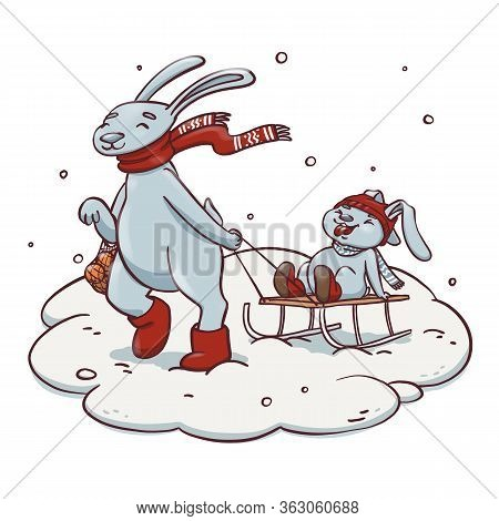 Cartoon Rabbit Pulling Sledge With Baby Rabbit. Cute Hand Drawn Illustration Of Family And Winter Ac