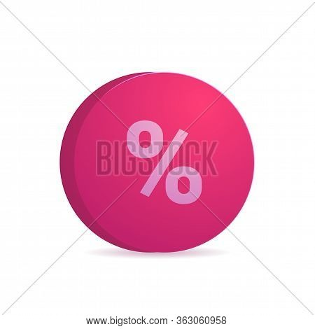 Percentage Of Income Icon Isolated On White Background. Red Circle With Percent Symbol. Discount Pro