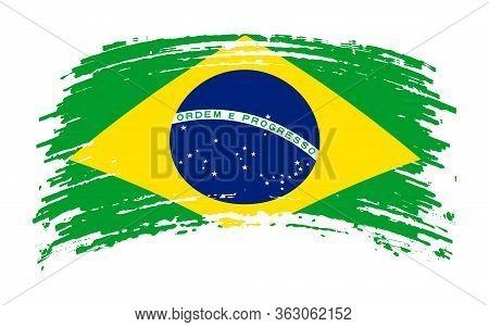 Brazil Flag In Grunge Brush Stroke, Vector