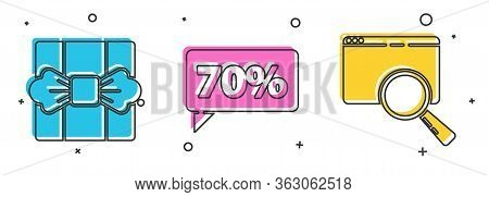 Set Gift Box, Seventy Discount Percent Tag And Search In A Browser Window Icon. Vector