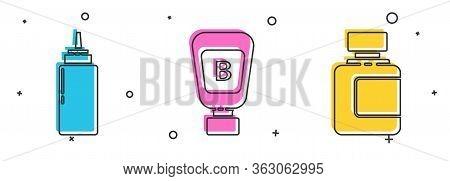 Set Sauce Bottle, Sauce Bottle And Sauce Bottle Icon. Vector