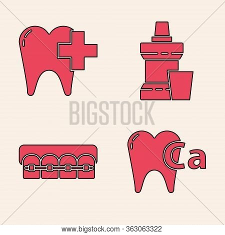 Set Calcium For Tooth, Dental Clinic For Dental Care Tooth, Mouthwash Plastic Bottle And Teeth With