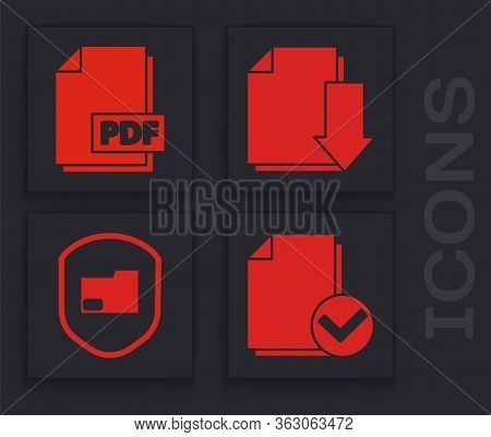 Set Document And Check Mark, Pdf File Document, Document With Download And Document Folder Protectio