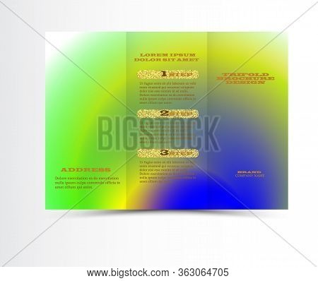 Colorful Tri-fold Brochure Design Template With Modern Geometric Background. Three-fold Leaflet With