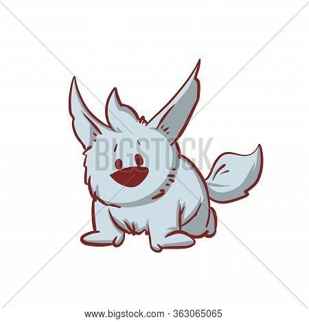 Colorful Vector Illustration Of A Tiny Baby Werewolf, Stalking