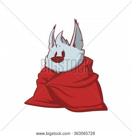 Colorful Vector Illustration Of A Tiny Baby Werewolf, Being Lazy Or Sick