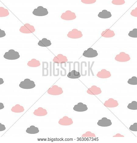 Seamless Background In A Childish Style With Clouds. Vector Illustration