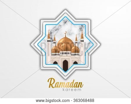 Islamic Background, Arabic Window On White Beige Background With Illustrations Of The Mosque In It.