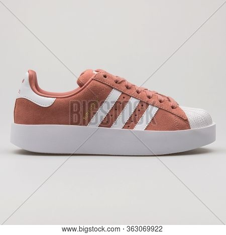 Vienna, Austria - February 14, 2018: Adidas Superstar Bold Pink And White Sneaker On White Backgroun