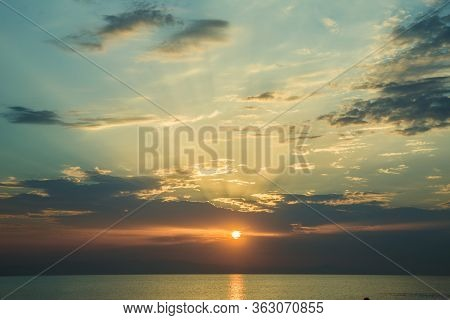 Caspian Sea. Azerbaijan Baku Beautiful Sunset In Yellow As Background. Azerbaijan Nature . The Sunse