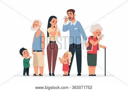 Family With Virus. Coronavirus Disease Symptoms And Prevention, Cartoon Young And Old Characters Cou