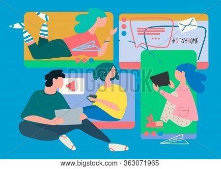 Remote Work Concept. Video Conferencing Software Ad. Covid-19 Quarantine Concept. Stay Home Motivati