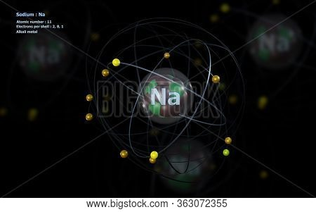3d Illustration Of Atom Of Sodium With Detailed Core And Its 11 Electrons With Atoms In Background