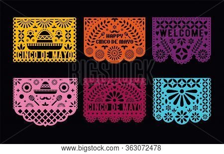 Vector Papel Picado Cards Set. Mexican Paper Decorations For Party. Cut Out Compositions For Paper G