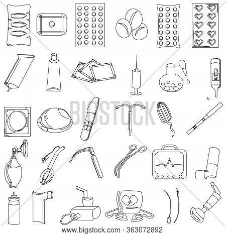 Big Set Of Vector Medical Icons. Medicines, Medical Equipment, Contraceptives. Objects For Resuscita