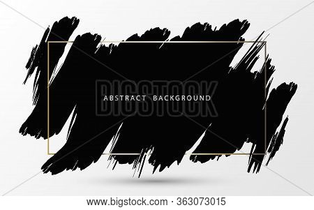 Abstract Black Ink Brush Stroke With Gold Frame On White Background. Vector Illustration