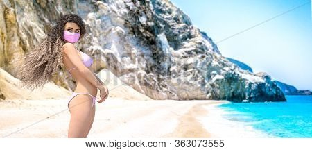 Woman Swimsuit On Beach.