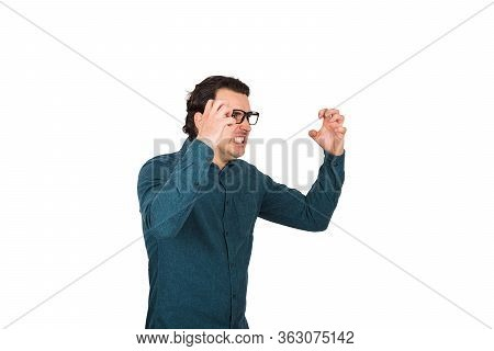 Angry Businessman, Boss Reacting Furious To His Employees Work, Clenching Teeth And Hands. Irritated