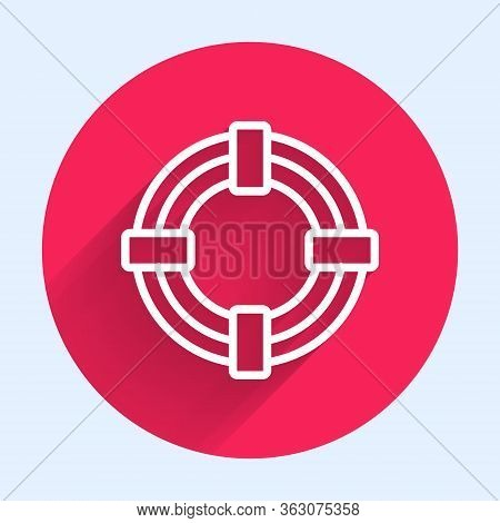 White Line Lifebuoy Icon Isolated With Long Shadow. Life Saving Floating Lifebuoy For Beach, Rescue