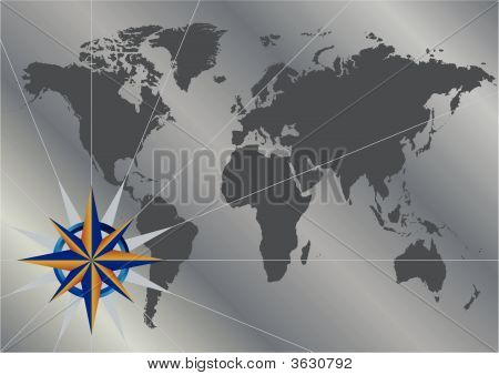 Compass Blue Gold World Map