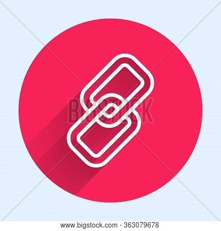 White Line Chain Link Icon Isolated With Long Shadow. Link Single. Red Circle Button. Vector Illustr