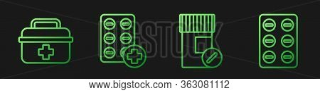 Set Line Medicine Bottle And Pills, First Aid Kit, Pills In Blister Pack And Pills In Blister Pack.
