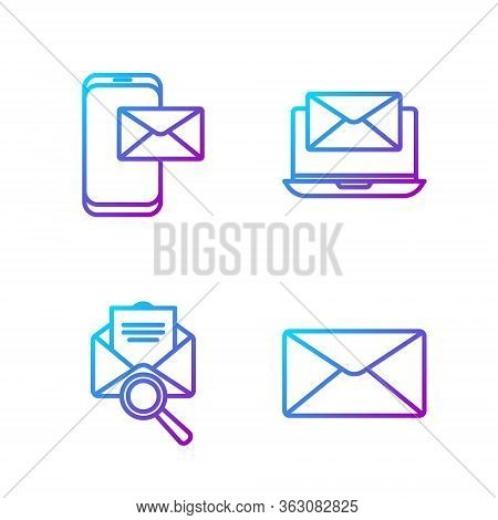 Set Line Envelope, Envelope With Magnifying Glass, Mobile And Envelope And Laptop With Envelope. Gra