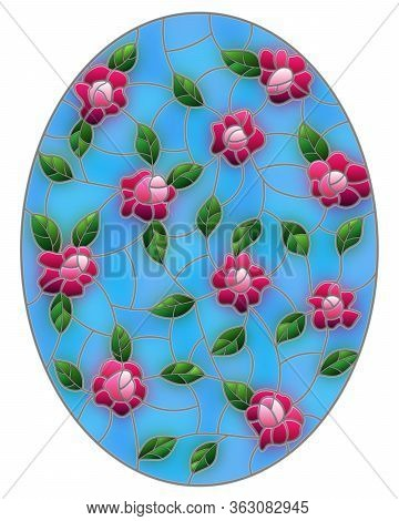 Illustration In The Style Of Stained Glass With Intertwined Pink Roses And Leaves On A Blue Backgrou