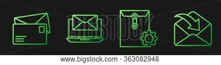 Set Line Envelope Setting, Envelope, Laptop With Envelope And Envelope. Gradient Color Icons. Vector