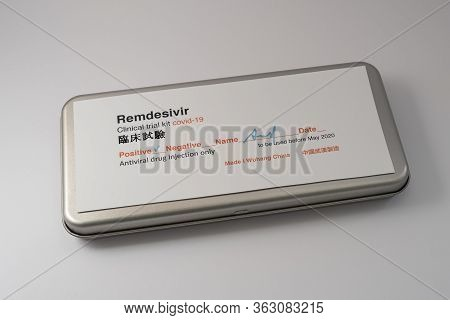 Metal Box With A Test Kit Of The Medicine Remdesivir Against Corona Virus, Denmark, April 16, 2020