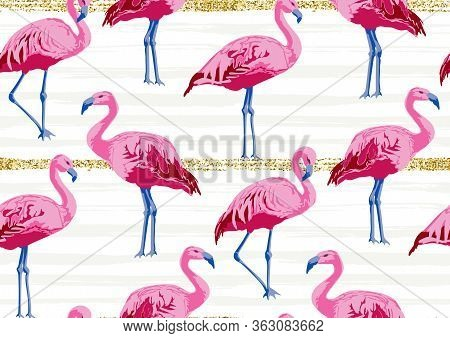 Bright Seamless Pattern With Flamingo Birds On Gold Glitter Stripes. Bohemian Exotic Print With